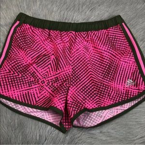 Adidas women's pink green lined shorts XS
